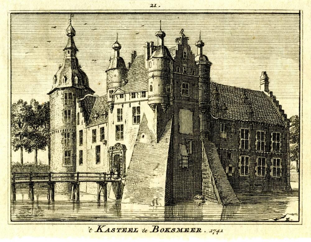 Kasteel Boxmeer in Boxmeer. Tekening Jan de Beijer, gravure Hendrik Spilman (Uit: Het Verheerlykt Nederland, Isaac Tirion, 1745/1774)